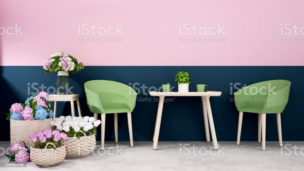Restaurant Or Coffee Shop Decrate Pink With Dark Blue Wall And Flower Decoration Dining Area In Home Or Apartment Decoration Colorful Flower Interior Design 3d Rendering Stock Photo Download Image Now