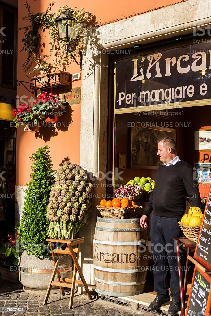 Restaurant owner in Rome, Italy stock photo