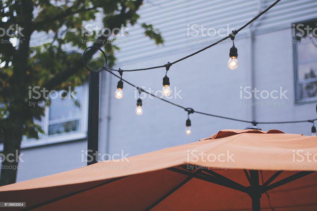 Restaurant Patio String Lights stock photo
