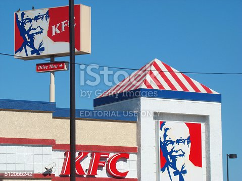 Los Angeles, USA - July 18 2010: Kentucky Fried Chicken (KFC) Restaurant, Fast Food in Los Angeles downtown. KFC is a Fast Food Restaurant Chain that specializes in Fried Chicken