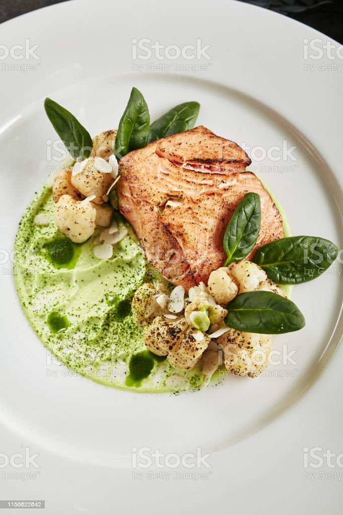 Exquisite Serving White Restaurant Plate with Fillet of Salmon 48...