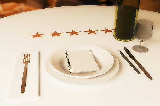 Restaurant rating concept Restaurant rating concept. Dining table with wine, cutlery, spiral notepad and five stars. 3D Rendering critic stock pictures, royalty-free photos & images