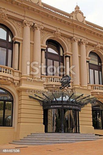 Monte Carlo , Monaco - May 15, 2013: Entrance to restaurant Salon de Jeux Prives - private gaming salon inside Casino of Monte Carlo