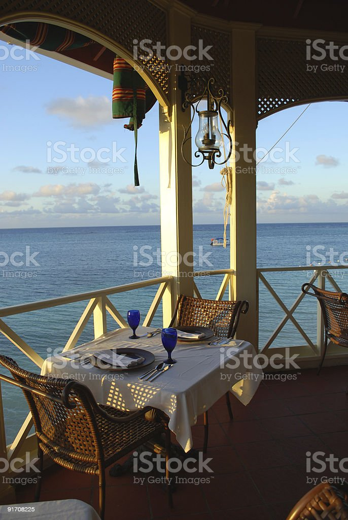 restaurant settings at a romantic resort royalty-free stock photo