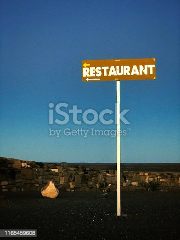 A Restaurant Sign outdoors at dawn Namibia Africa