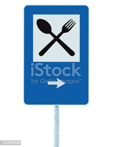 521911567 istock photo Restaurant sign on pole post, traffic road roadsign, blue isolated 470340209