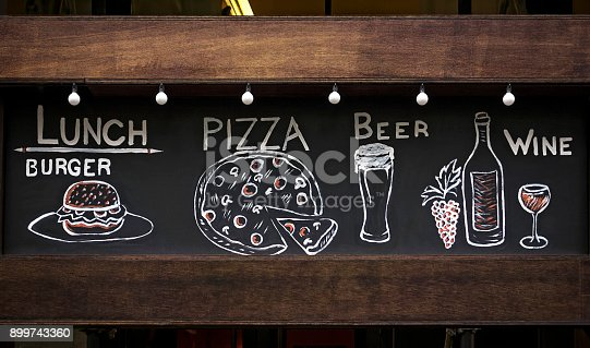 chalk drawn food and drink drawings on a blackboard sign