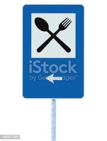 521911567 istock photo Restaurant sign pole post, road traffic roadsign, isolated left arrow 482077397