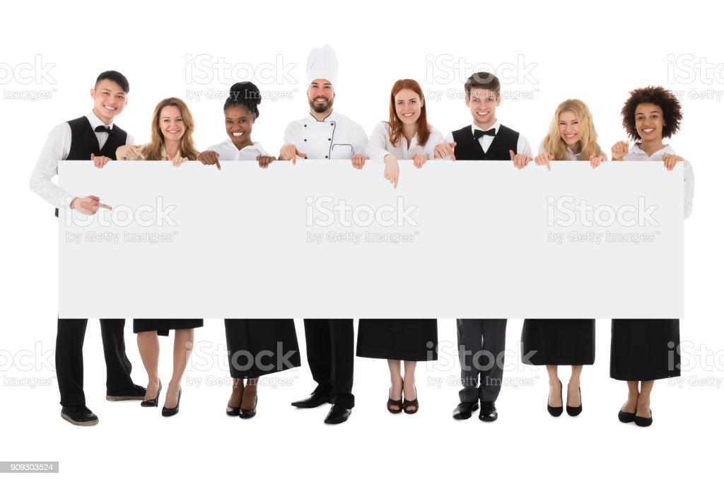 Personal im Restaurant hält lange leer Banner - Lizenzfrei Deutschland Stock-Foto