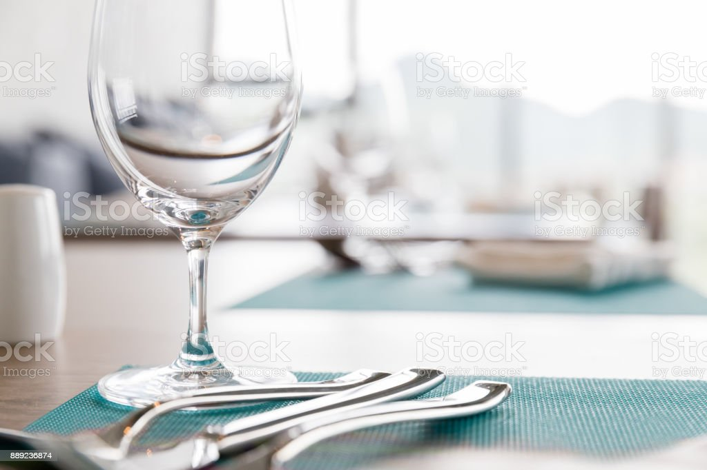 Restaurant table place setting stock photo