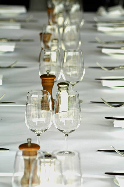 restaurant table setting - pair stock photos and pictures