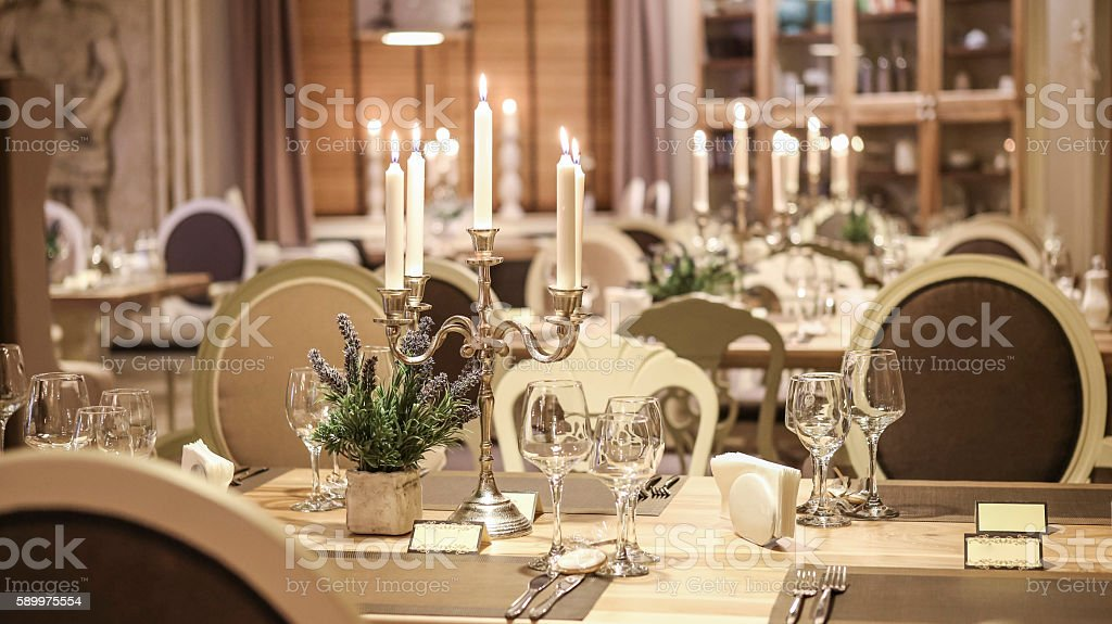 Restaurant Table With Candles Stock Photo More Pictures Of - Restaurant table candles