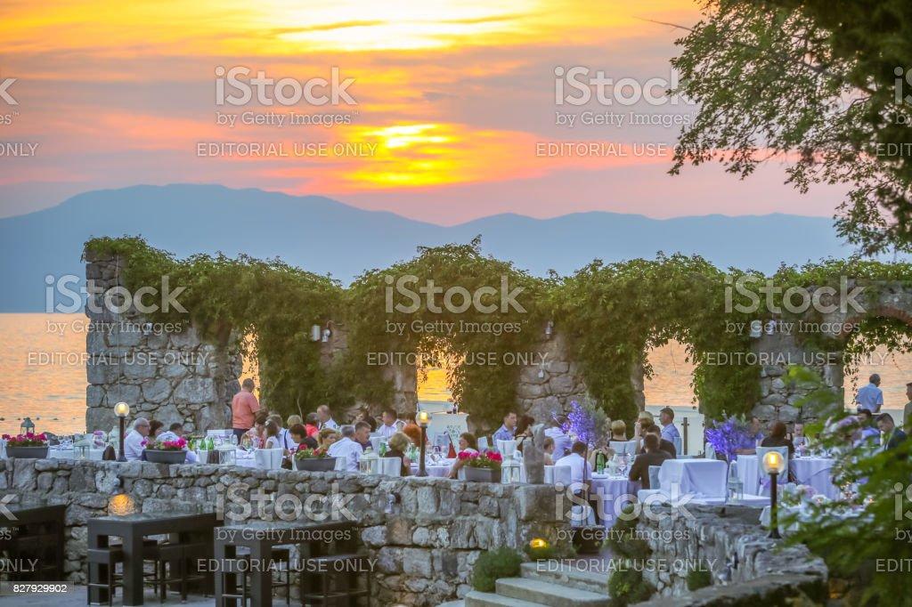 Restaurant terrace at sunset stock photo