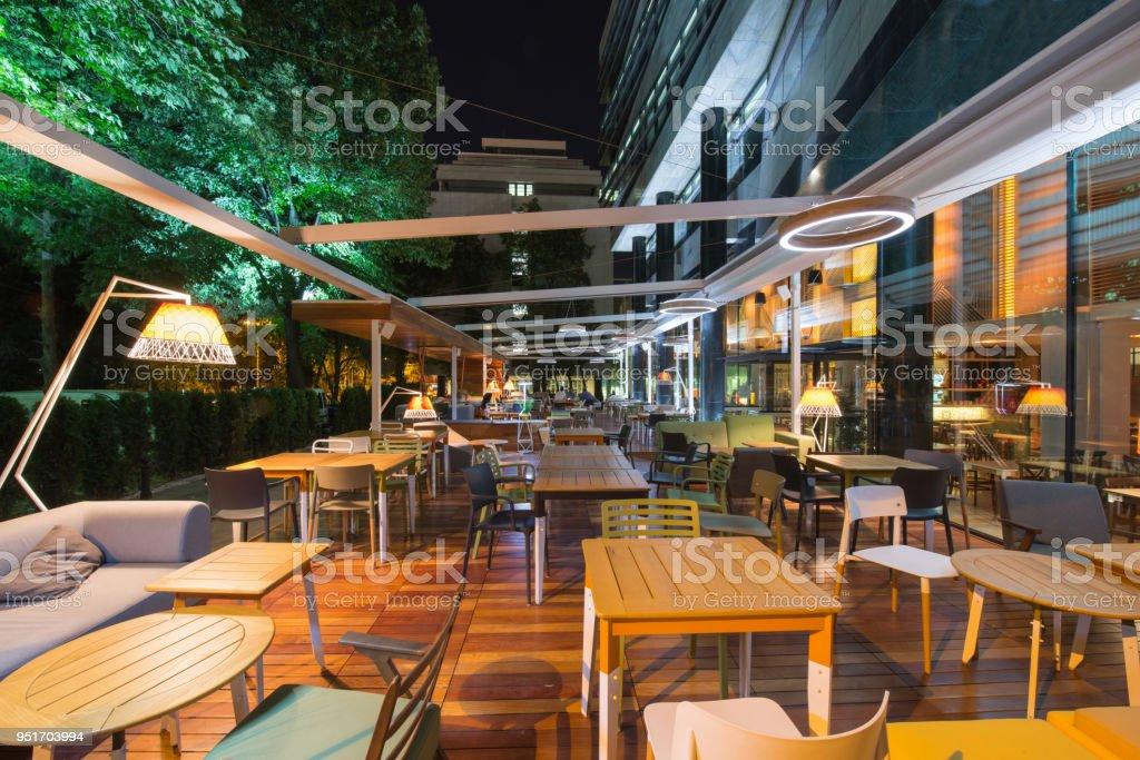 Restaurant terrace in the summer night