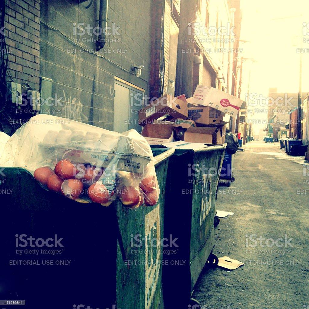 Restaurant Trash in Alley stock photo