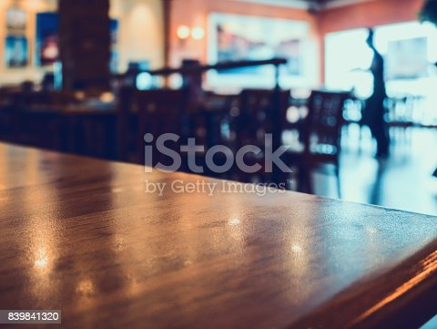 886308526 istock photo restaurant with abstract bokeh light blur background 839841320