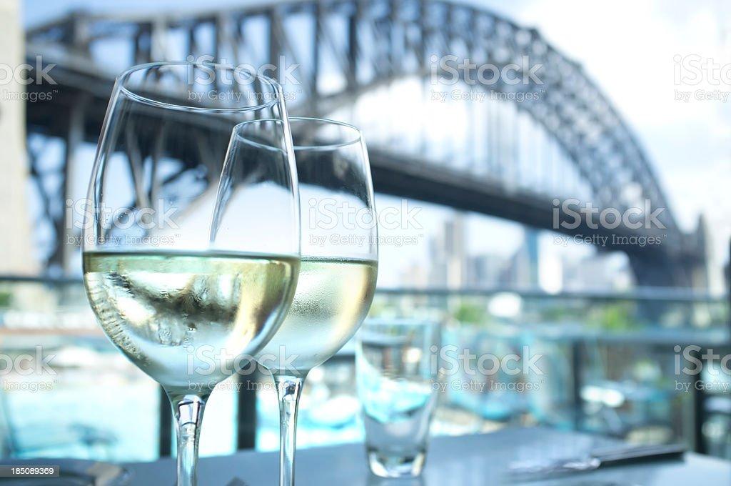 Restaurant with Sydney Harbour Bridge in the background stock photo