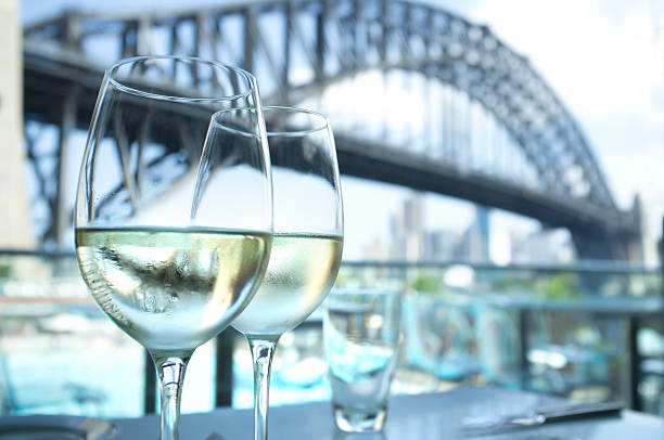 Restaurant with Sydney Harbour Bridge in the background stock photo