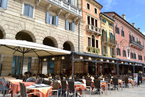 Restaurants and cafes of the Piazza delle Erbe in Verona. stock photo