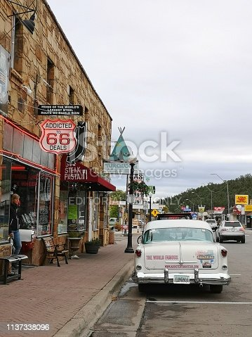 16 october 2018, Williams, AZ, USA: restaurants and gift shops in historic town of Williams, route 66, Arizona. USA