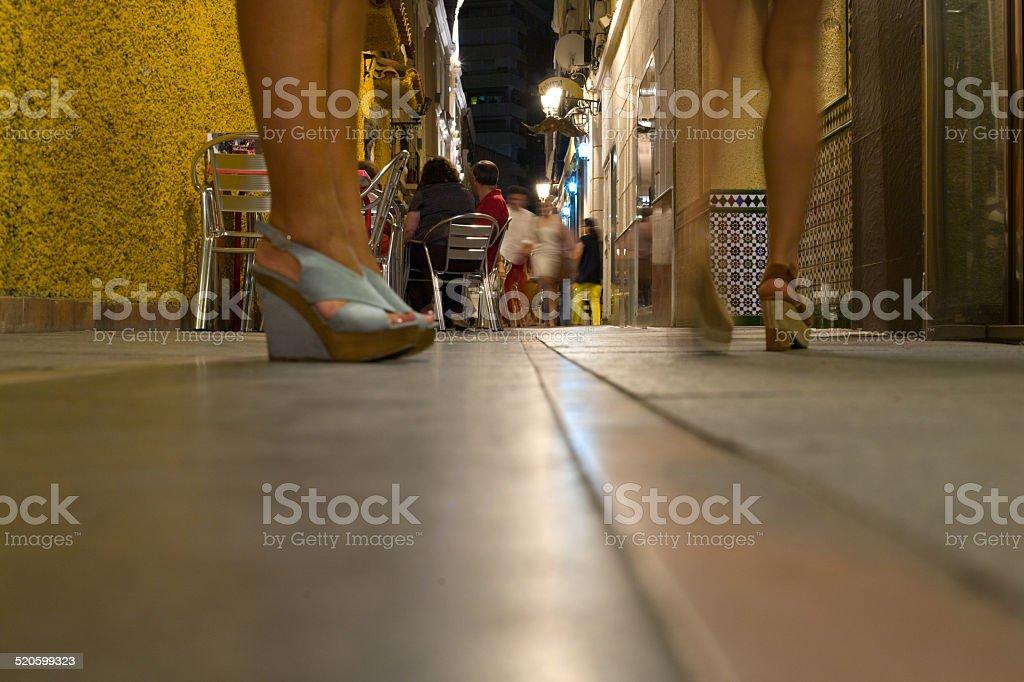 Restaurants and pubs area in Badajoz city stock photo