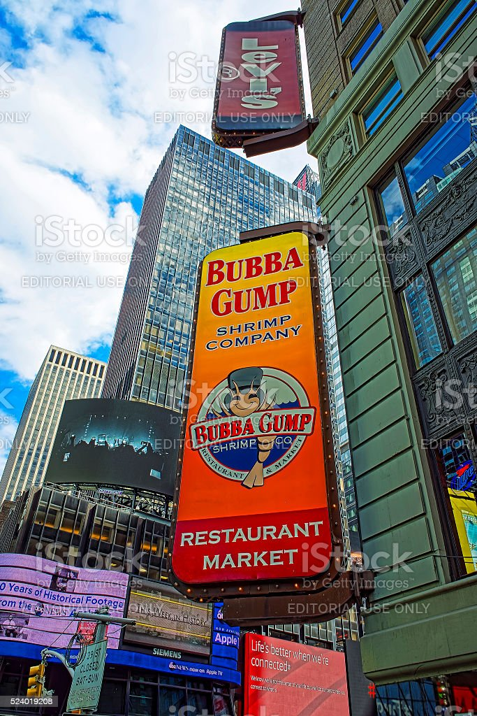 Restaurants at 7th Avenue and West 44th Street Midtown Manhattan stock photo