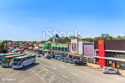 istock CHONBURI - THAILAND- MARCH 22, 2017 : Restaurants at Motorway Rest Area where located middle way to PATTAYA city. It is the good place for tourist when want to find some drink. 657336618