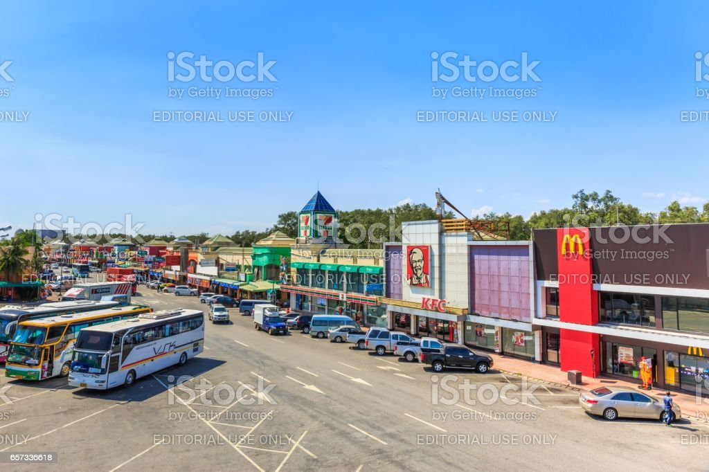 CHONBURI - THAILAND- MARCH 22, 2017 : Restaurants at Motorway Rest Area where located middle way to PATTAYA city. It is the good place for tourist when want to find some drink. stock photo