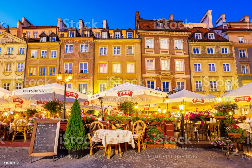 Restaurants at Old Town Market Place in Warsaw Poland stock photo