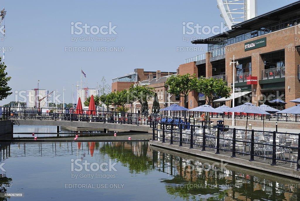 Restaurants. Gunwharf Quay. Portsmouth. UK royalty-free stock photo