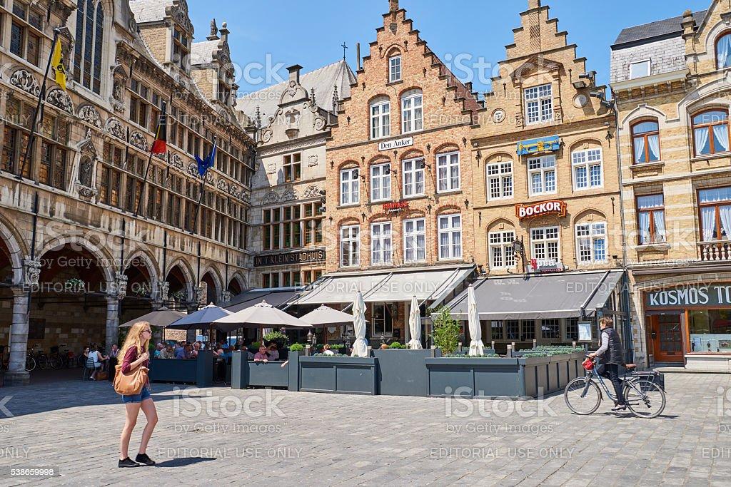 Restaurants in Ypres stock photo