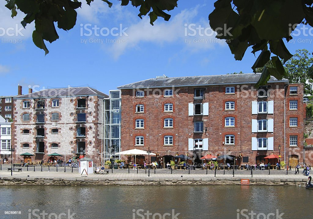 Restaurants on Historic Quayside at Exeter. Devon. England royalty-free stock photo