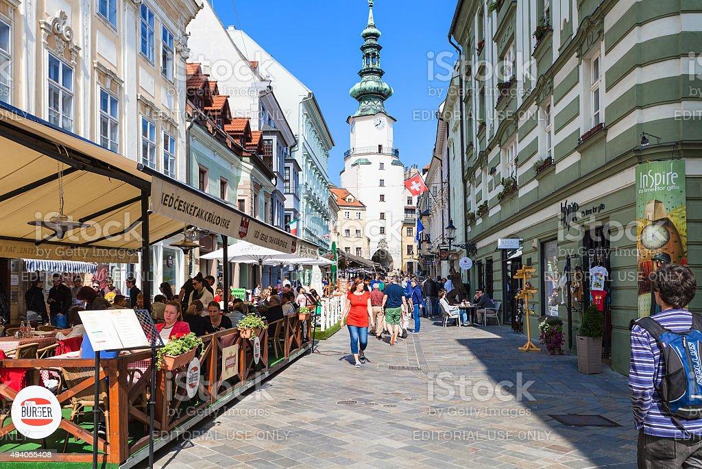 restaurants on Michalska street in Bratislava stock photo