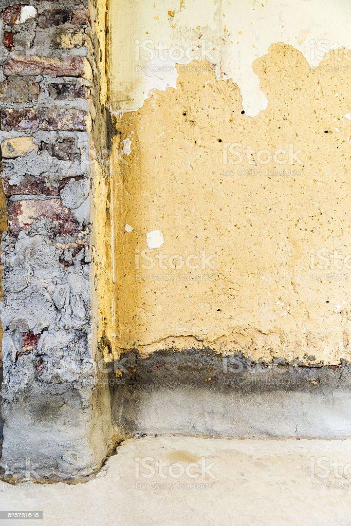 Restauration of brick wall stock photo