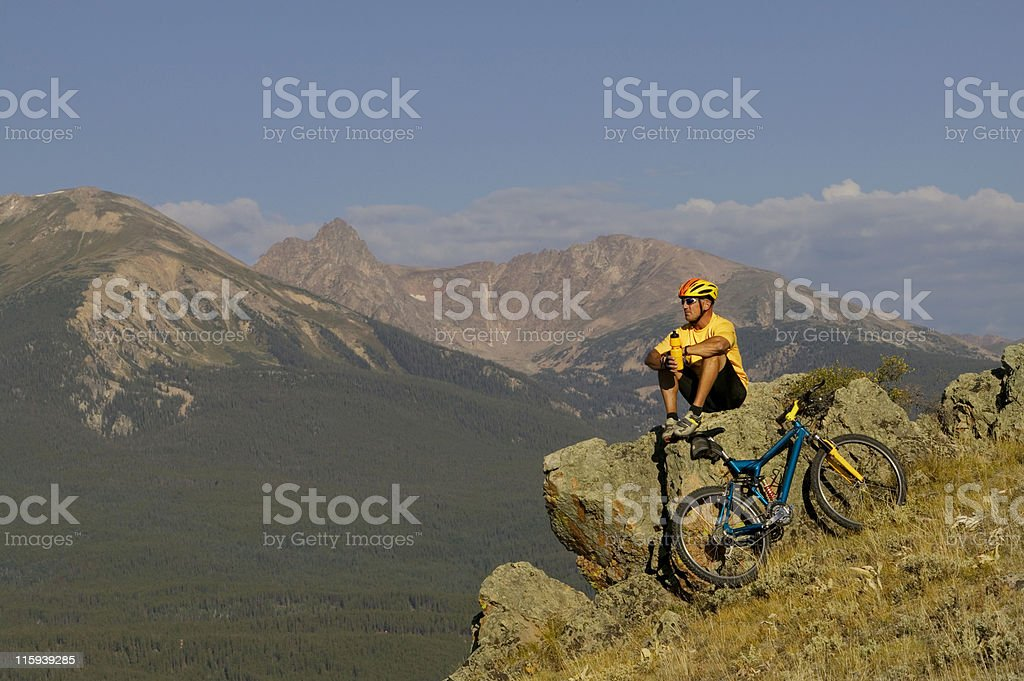 Resting After Mountain Bike Ride royalty-free stock photo