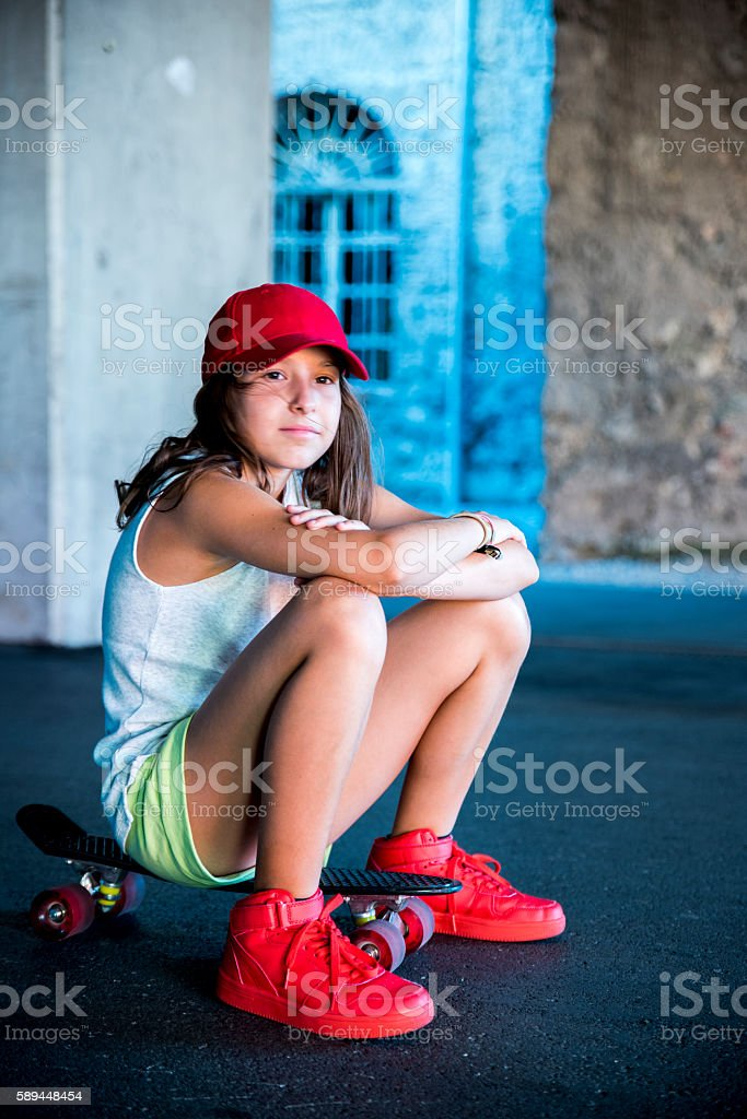 Resting after skateboarding stock photo