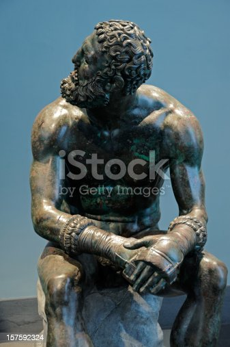 Italy, Rome (Museo Nazionale Romano): Resting Boxer  1st century BCE Roman copy of 3rd century Greek original by Apollonius Bronze.