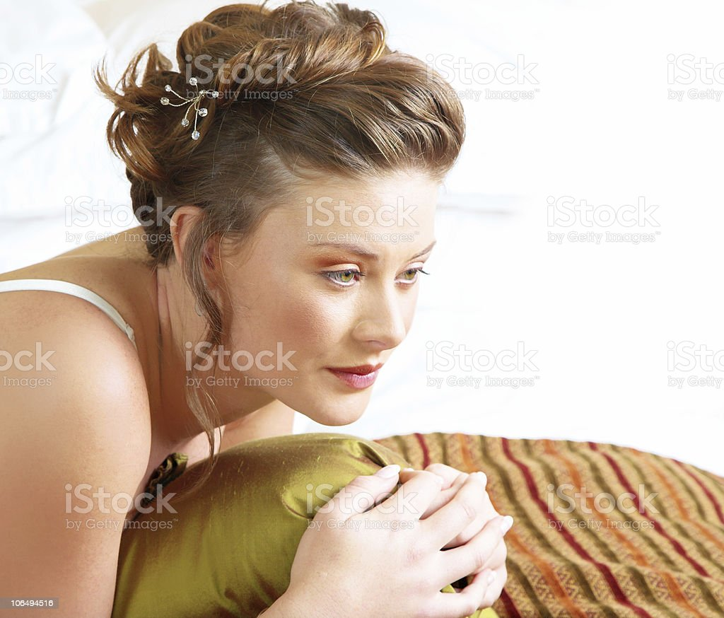 Resting brunette bride royalty-free stock photo