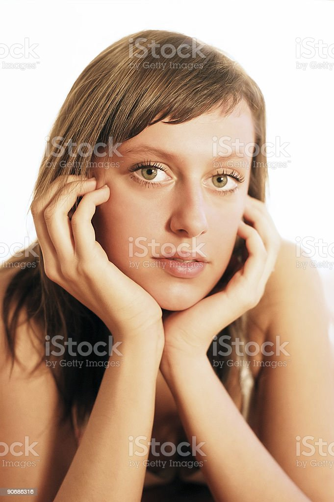 Resting head on hand royalty-free stock photo