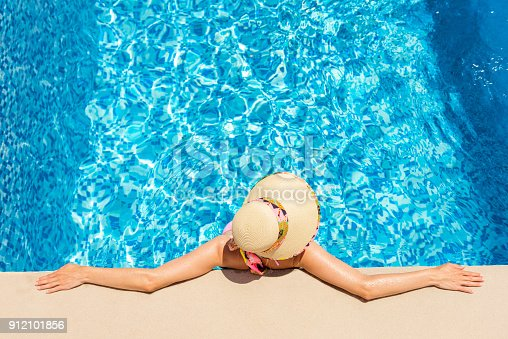 istock Resting in pool & hot afternoon 912101856