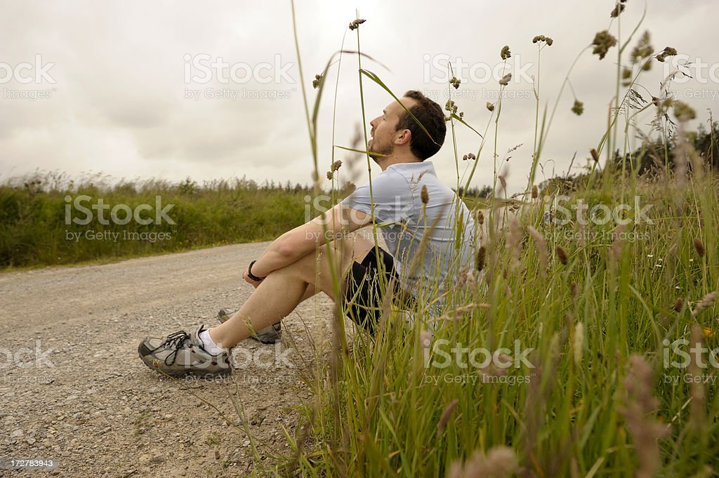 Resting male runner royalty-free stock photo