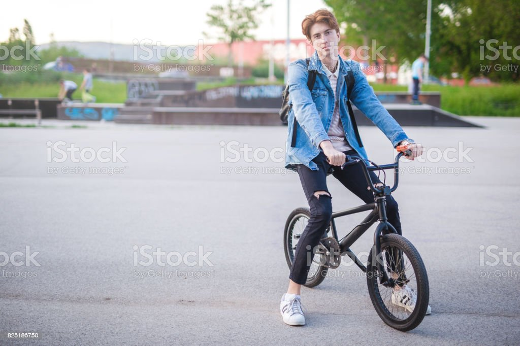 Resting on the bmx stock photo