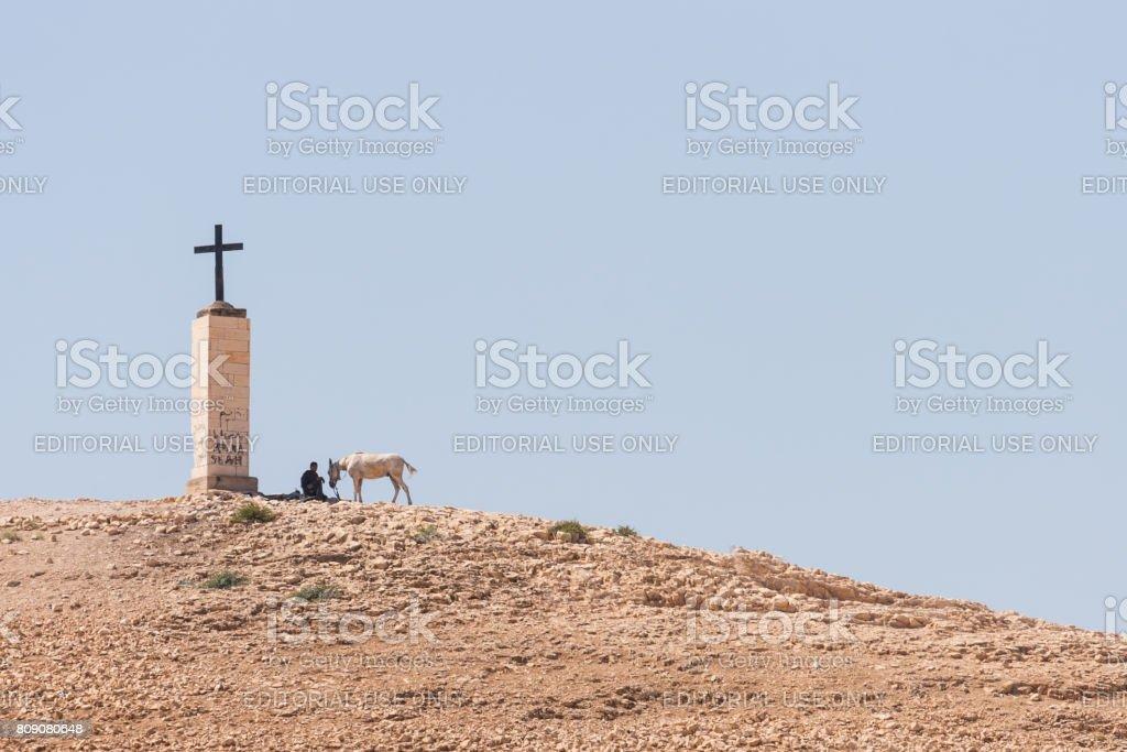 Resting pilgrim. stock photo