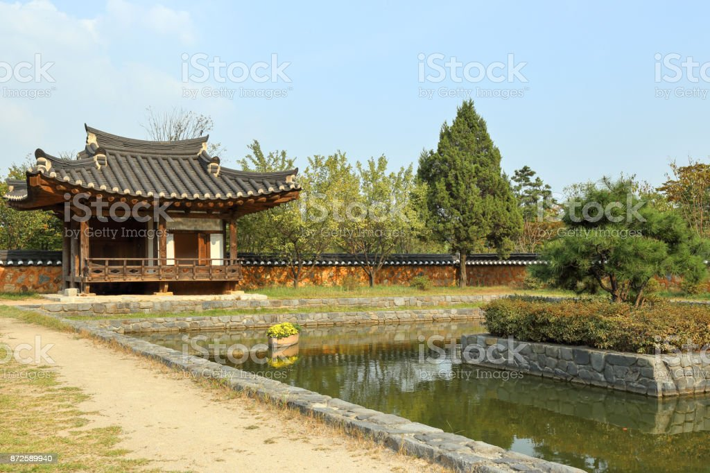 Resting place by a pond stock photo