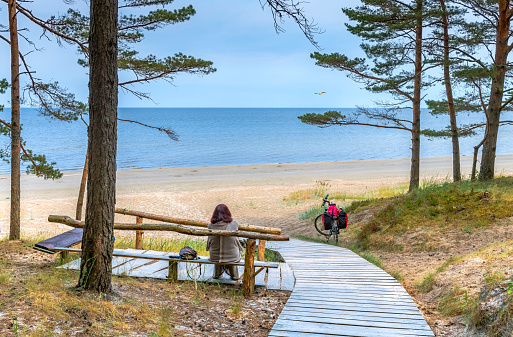 Resting point at sandy beach of the Baltic Sea, Latvia