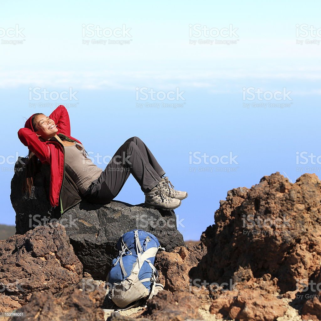 Resting relaxing hiker royalty-free stock photo