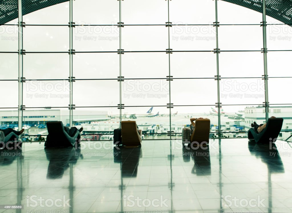 Resting seats at the airport stock photo