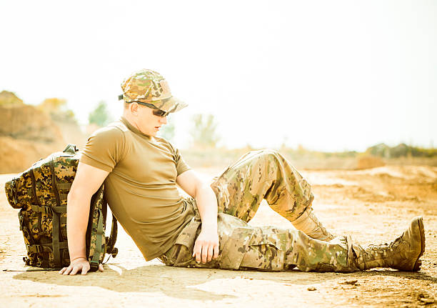 resting soldier stock photo