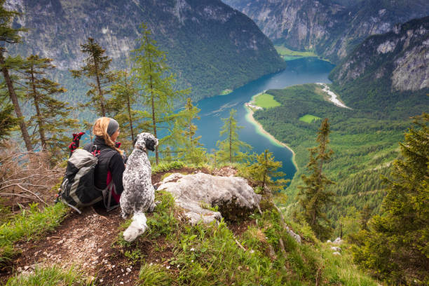 Resting Woman with her Dog in Bavaria, Berchtesgaden - Koenigssee stock photo