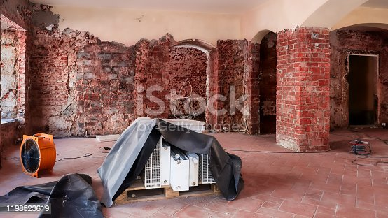 Restoration of a water damage in a house